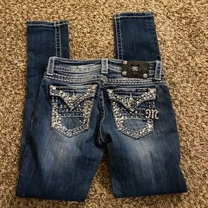 Miss Me skinny jeans flap bling pockets size 26